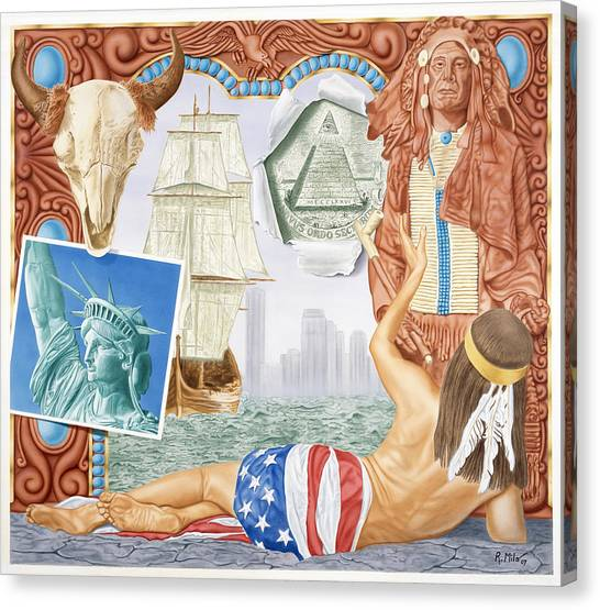 Destruction Of Native America Canvas Print