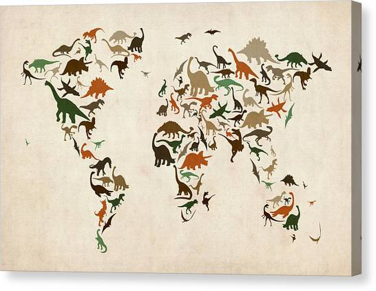 Brontosaurus Canvas Print - Dinosaur Map Of The World Map by Michael Tompsett
