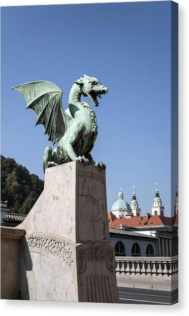 Ljubljana Canvas Print - Dragon Bridge. Ljubljana. by Fernando Barozza