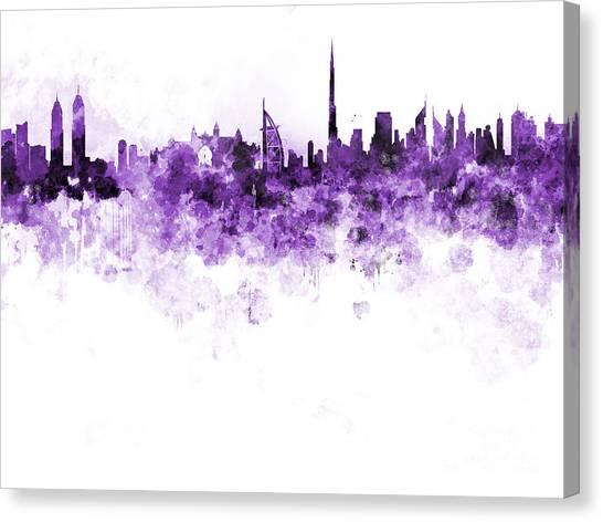 Dubai Skyline Canvas Print - Dubai Skyline In Watercolour On White Background by Pablo Romero