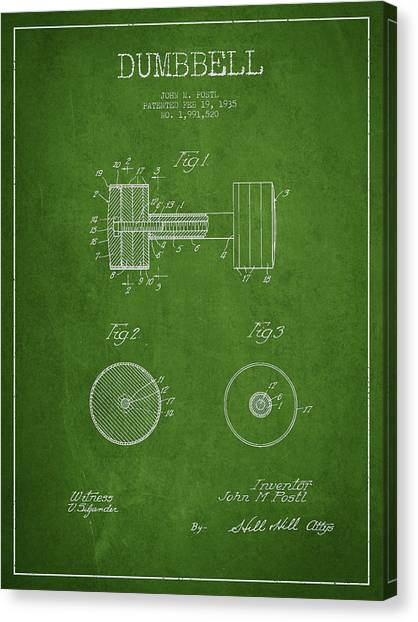 Gym Canvas Print - Dumbbell Patent Drawing From 1935 by Aged Pixel