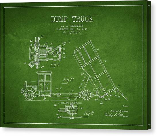 Dump Trucks Canvas Print - Dump Truck Patent Drawing From 1934 by Aged Pixel