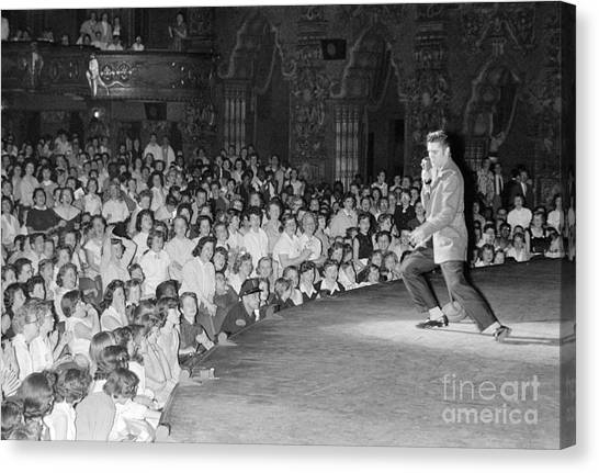 Elvis Canvas Print - Elvis Presley In Concert At The Fox Theater Detroit 1956 by The Harrington Collection