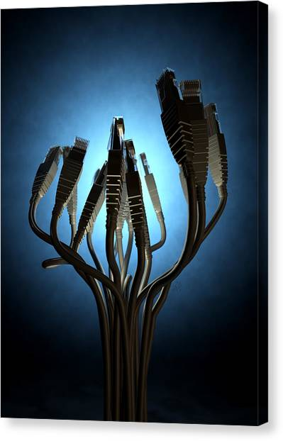 Transmission Canvas Print - Ethernet Abstract Silhouettes by Allan Swart