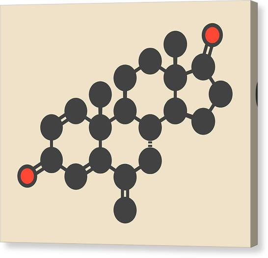 Breast Cancer Canvas Print - Exemestane Breast Cancer Drug Molecule by Molekuul