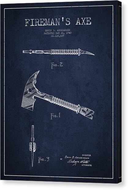 Axes Canvas Print - Fireman Axe Patent Drawing From 1940 by Aged Pixel