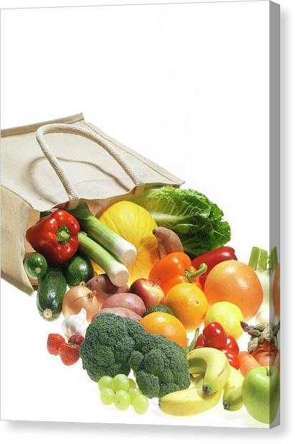 Fruit And Vegetables Canvas Print by Tek Image/science Photo Library