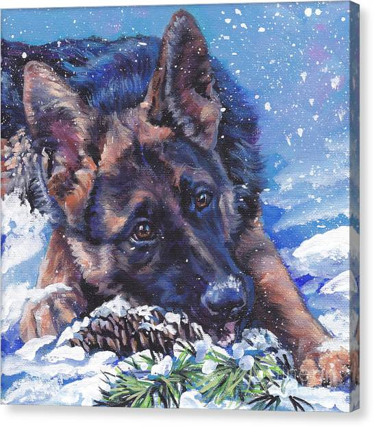 German Shepherds Canvas Print - German Shepherd by Lee Ann Shepard