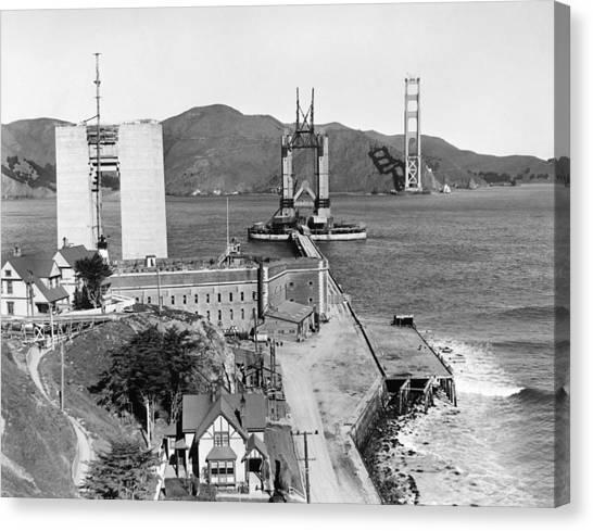 Bay Bridge Canvas Print - Gg Bridge Under Construction by Underwood Archives