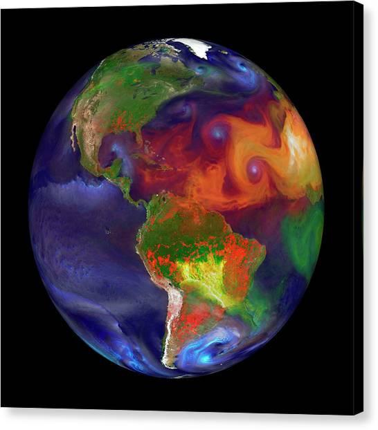 Global Fires Canvas Print by William Putman/nasa Goddard Space Flight Center
