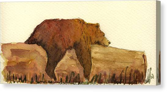 Brown Canvas Print - Grizzly Bear by Juan  Bosco