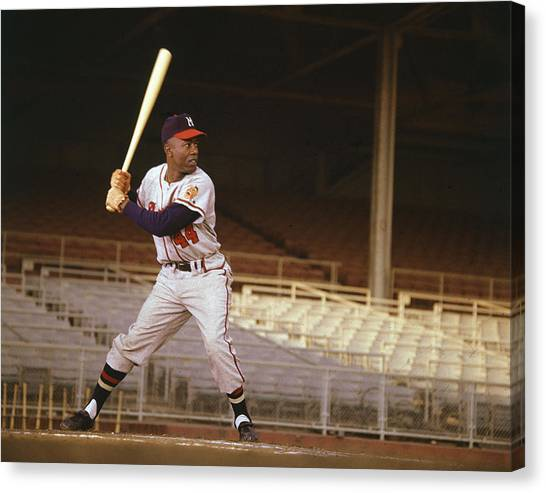Atlanta Braves Canvas Print - Hank Aaron by Retro Images Archive