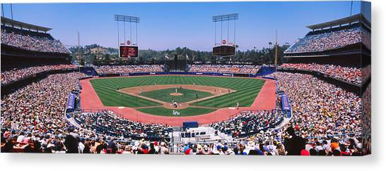 Baseball Players Canvas Print - High Angle View Of Spectators Watching by Panoramic Images