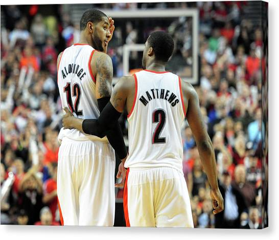 Houston Rockets V Portland Trailblazers Canvas Print by Steve Dykes