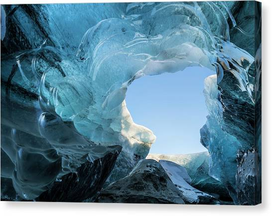 Ice Caves Canvas Print - Ice Cave In The Glacier by Martin Zwick