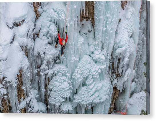 Ice Climbing Canvas Print - Ice Climber Ascending At Ouray Ice by Howie Garber