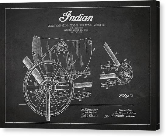 Choppers Canvas Print - Indian Motorcycle Patent From 1902 by Aged Pixel