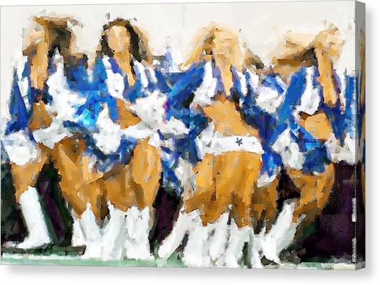 Dallas Cowboys Cheerleaders Canvas Print - Its Showtime by Carrie OBrien Sibley