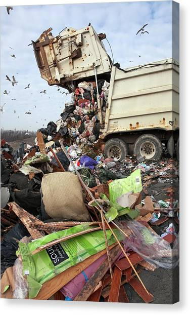Dump Trucks Canvas Print - Landfill Site by Jim West