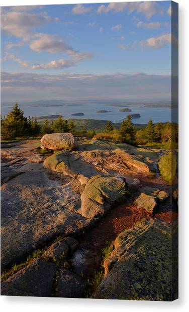 Late Day Light - Cadillac Mountain Canvas Print by Stephen  Vecchiotti