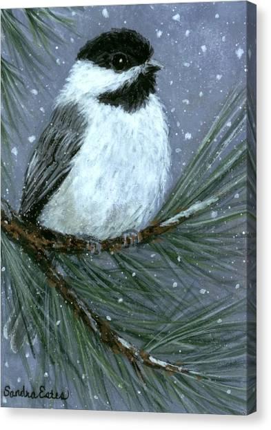 Let It Snow Chickadee Canvas Print