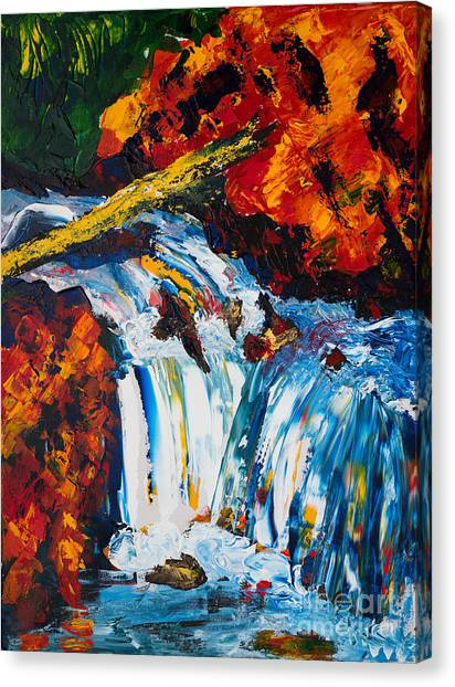 Log And Waterfall Canvas Print