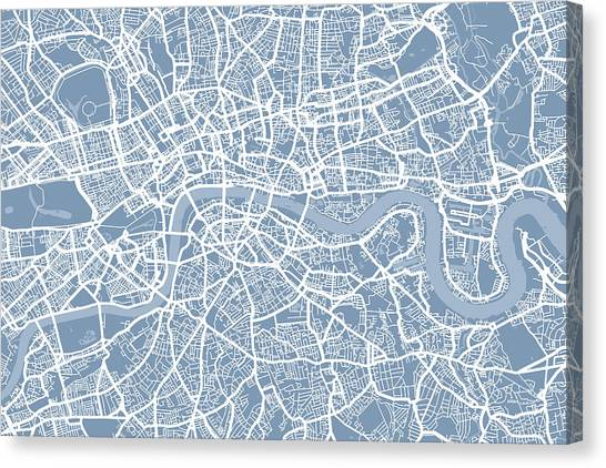 England Canvas Print - London England Street Map by Michael Tompsett
