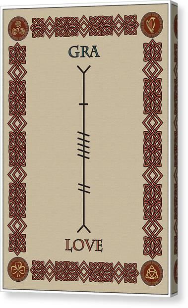 Love Written In Ogham Canvas Print