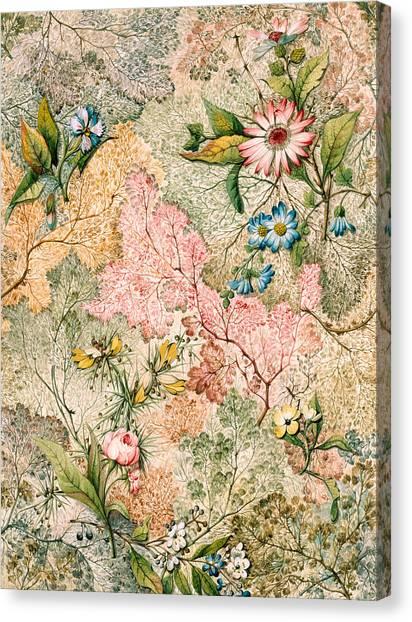 Victorian Garden Canvas Print - Marble End Paper  by William Kilburn