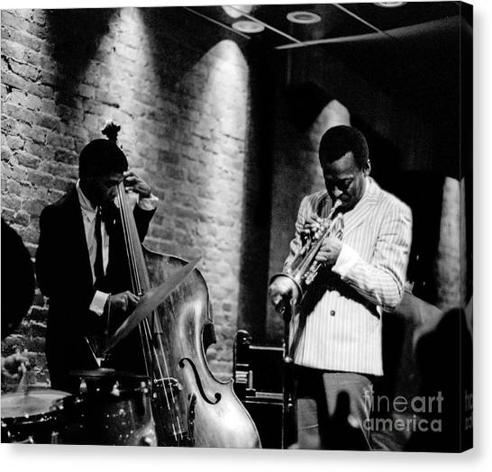 Saxophones Canvas Print - Miles Davis And Buster Williams At The Penthouse by Dave Coleman