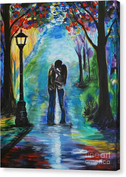 Other Canvas Print - Moonlight Kiss by Leslie Allen