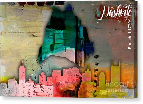 Skyline Canvas Print - Nashville Skyline And Map Watercolor by Marvin Blaine