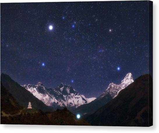 Mount Everest Canvas Print - Night Sky Over The Himalayas by Babak Tafreshi/science Photo Library