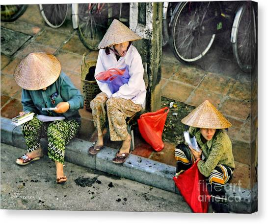 Matting Canvas Print - 3 Non La In Hoi An-vietman by Jennie Breeze
