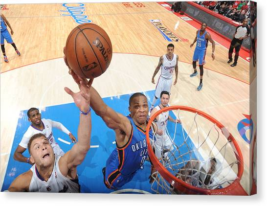 Russell Westbrook Canvas Print - Oklahoma City Thunder V Los Angeles by Andrew D. Bernstein