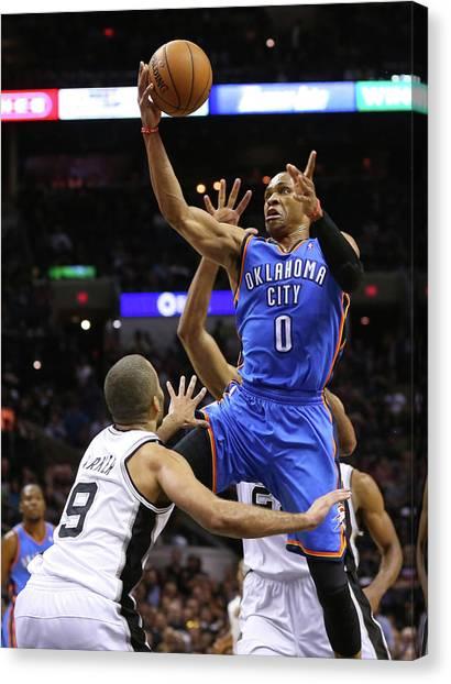 Russell Westbrook Canvas Print - Oklahoma City Thunder V San Antonio by Ronald Martinez