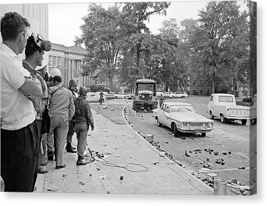 University Of Mississippi Ole Miss Canvas Print - Ole Miss Riot, 1962 by Granger