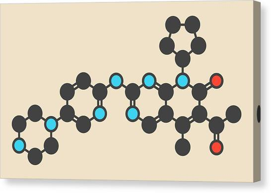 Breast Cancer Canvas Print - Palbociclib Breast Cancer Drug Molecule by Molekuul