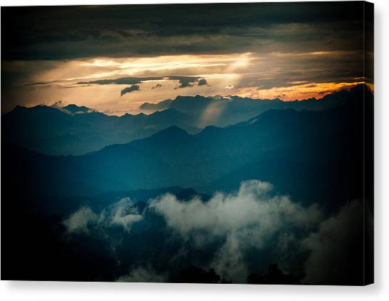 Panaramic Sunset Himalayas Mountain Nepal Canvas Print