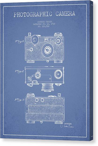 Vintage Camera Canvas Print - Photographic Camera Patent Drawing From 1938 by Aged Pixel