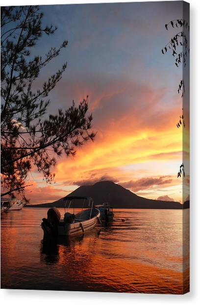 Volcanoes Canvas Print - Sunset by Josias Tomas