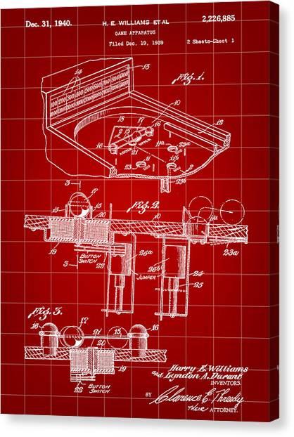 Elton John Canvas Print - Pinball Machine Patent 1939 - Red by Stephen Younts