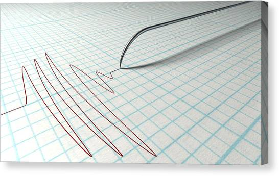 Electronic Instruments Canvas Print - Polygraph Needle And Drawing by Allan Swart