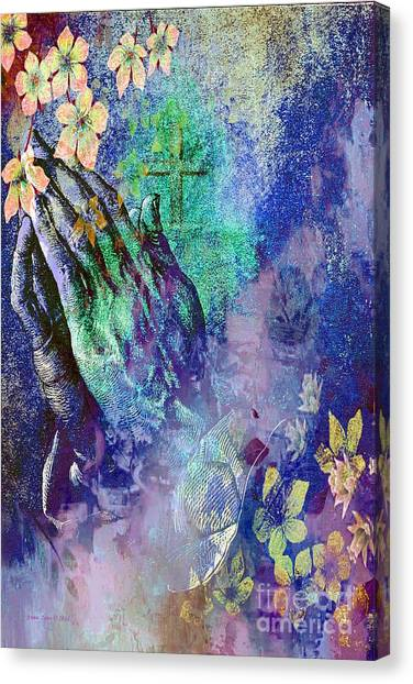 Praying Hands Flowers And Cross Canvas Print
