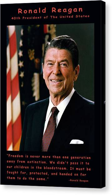 Ronald Reagan Canvas Print - President Ronald Reagan by Official White House Photograph