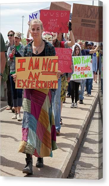 Political Science Canvas Print - Protest Against Gm Crops by Jim West
