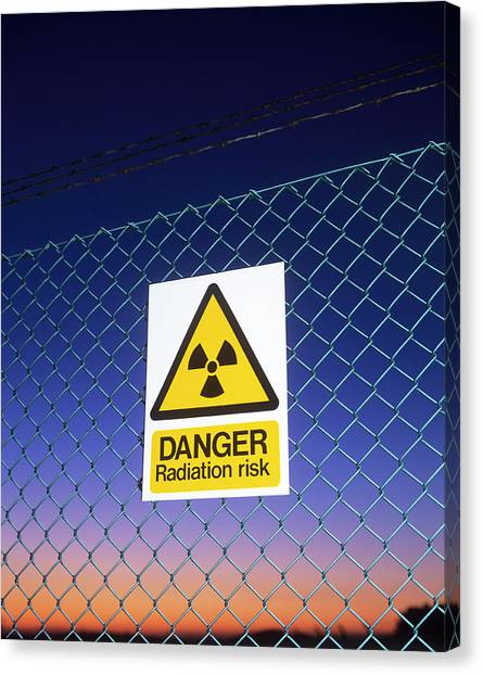 Chain Link Fence Canvas Print - Radiation Warning Sign by Martin Bond/science Photo Library