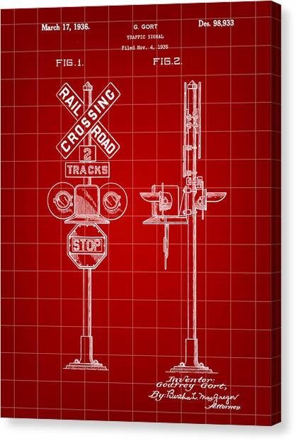 Trainspotting Canvas Print - Railroad Crossing Signal Patent 1935 - Red by Stephen Younts