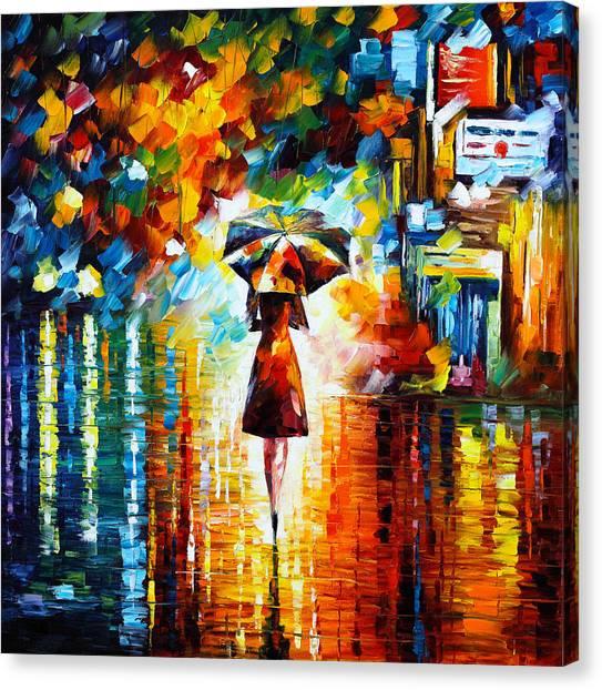 Park Scene Canvas Print - Rain Princess by Leonid Afremov