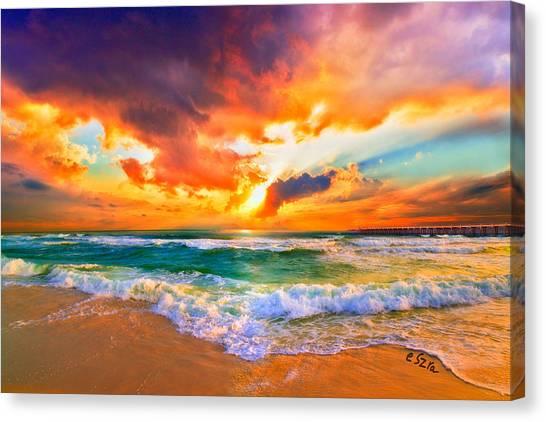 Red Orange Beach Sunset Canvas Print